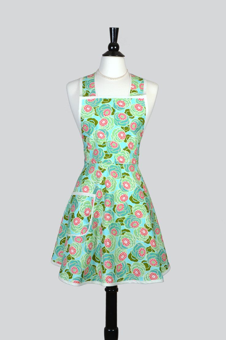 Womens Vintage Style Apron / Amy Butler Seaglass Floral In Aqua Teal And  Coral Packed Flowers Cute Retro Womens Kitchen Apron Part 64