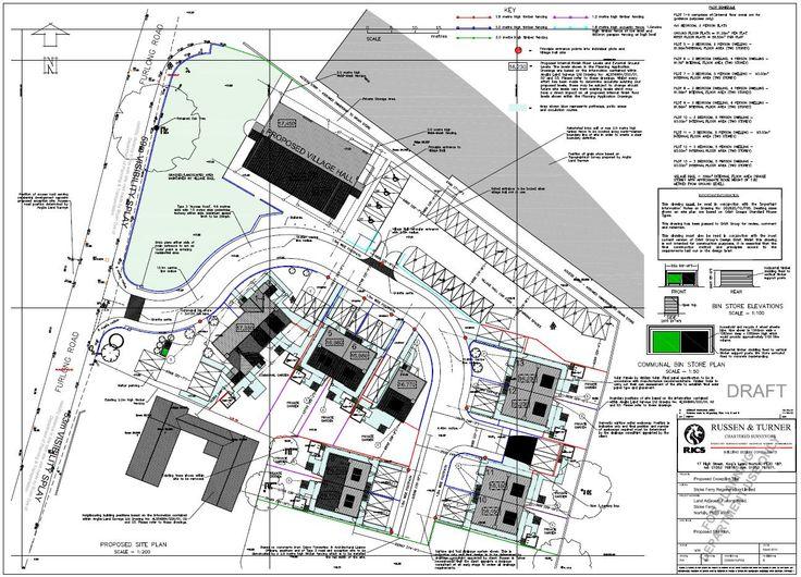 Stoke Ferry, Norfolk. Russen & Turner were lead designers for a new social housing estate, providing 13 dwellings. Site Plan.