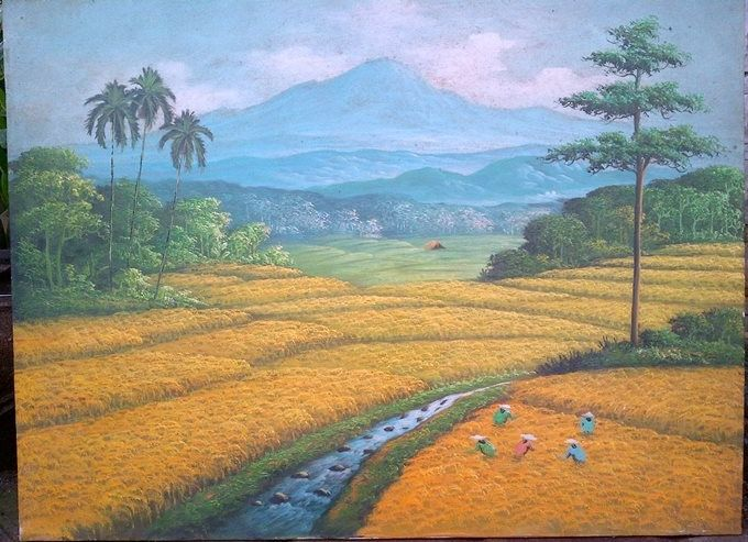 Lukisan Panen padi, oil on canvas, 60 x 75 cm