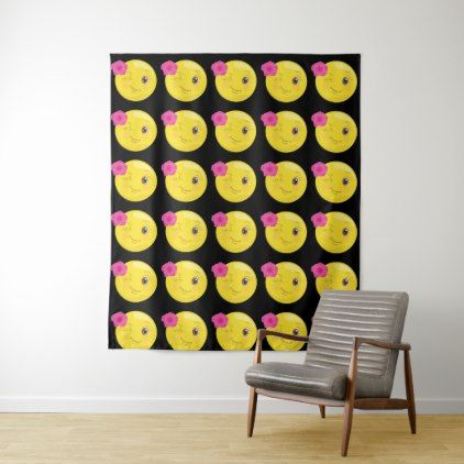 Flirty Girl Emoji Wall Tapestry - home gifts ideas decor special unique custom individual customized individualized