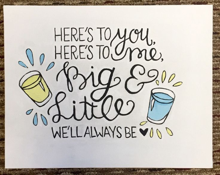 A personal favorite from my Etsy shop https://www.etsy.com/listing/229593692/sorority-big-little-painted-canvas-heres