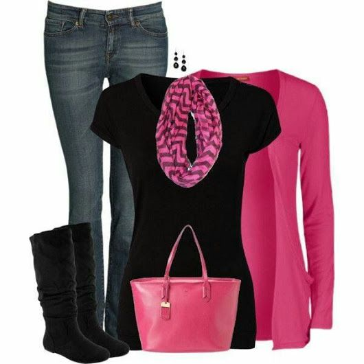 Love a sweater scarf combo - pink is very vibrant and goes well with black.