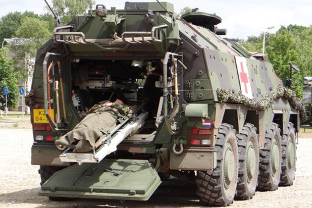 Ambulance vehicle from ARTEC, the Kraus Maffei Wegman and Rheinmetall MAN Military Vehicles joint venture responsible for the delivery of Boxer vehicles to Germany and the Netherlands.
