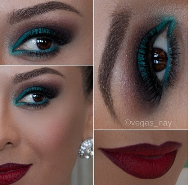 Turquoise eyes and deep red lip. Beautiful eye makeup