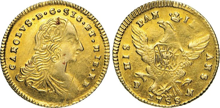 NumisBids: Numismatica Varesi s.a.s. Auction 65, Lot 524 : PALERMO - CARLO DI BORBONE (1734-1759) Doppia Oncia d'oro 1755. ...