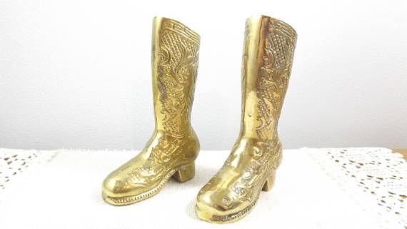 2 Vintage Brass Boots 5 tall brass vase planter gold