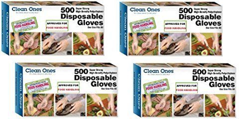 Disposable Gloves 2000 ct 4 Box One Size 100% Latex Free Strong Seams Food Safe #Cleanones