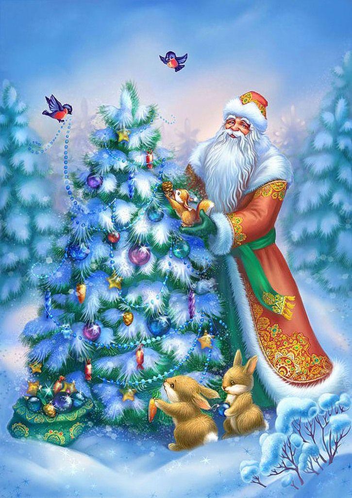 Картинки новогодняя елка и деде мороз