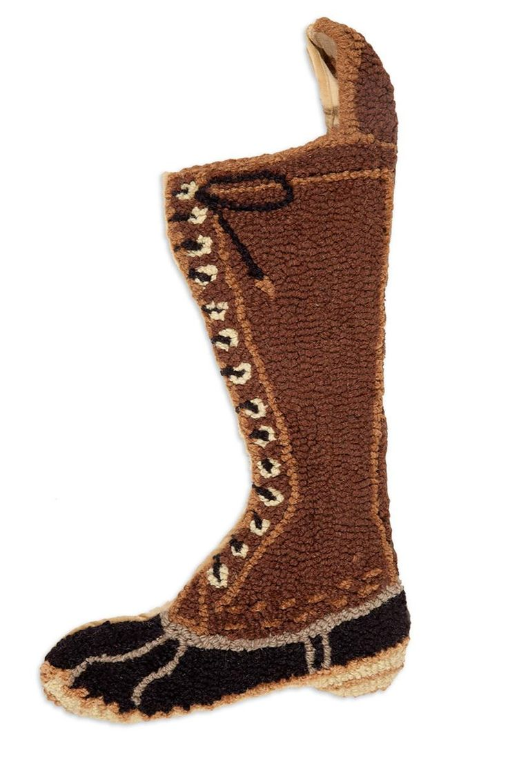 Hunting Boot Stocking   Hand Hooked Wool Christmas Stocking