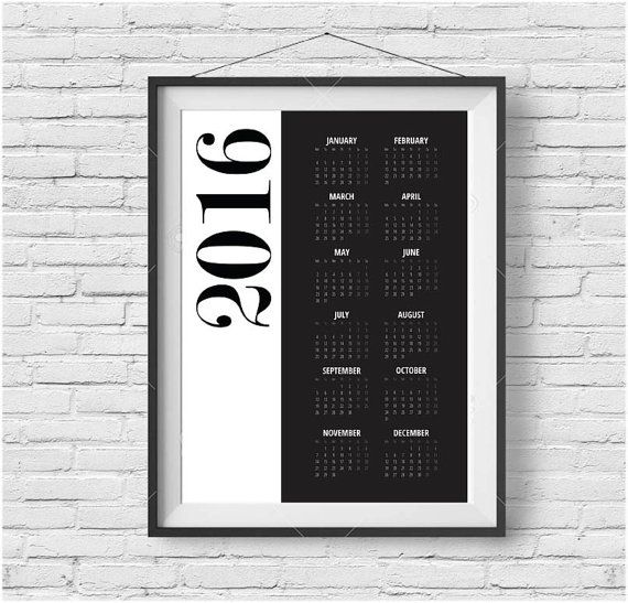 Black & White Calendar 2016 Minimalist Calendar Modern Calendar 2016 Yearly Planner Yearly Calendar Large Wall Calendar Printable Calendar