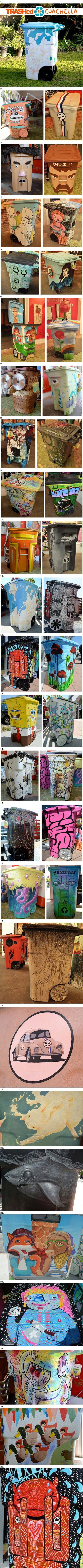 Designer trash cans and recycling bins| Trashed Coachella and miami recycles