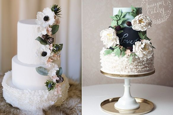 fall berries wedding cakes by Wildflour Fine Bakery, Natalie Greene Photography left, Juniper Cakery right