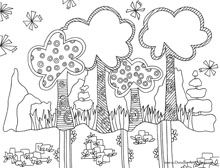 trees coloring page doodle art nature coloring page