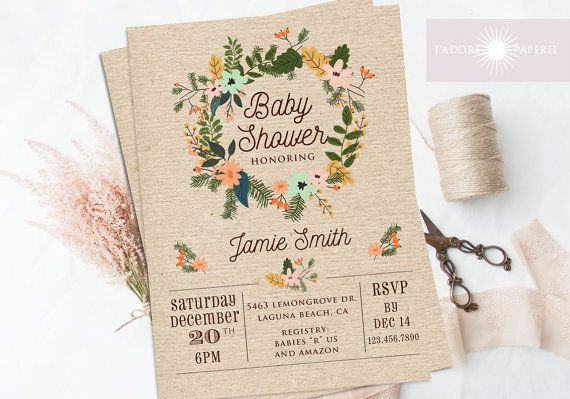 Baby Shower Invitation Floral Wreath Baby Shower by JadorePaperie