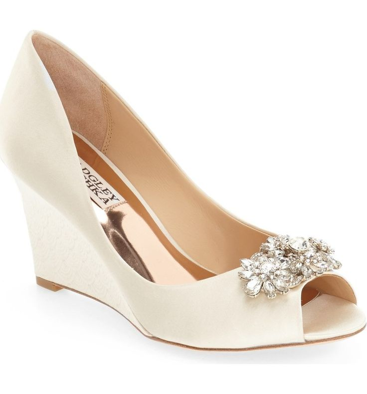 Main Image - Badgley Mischka 'Dara' Crystal-Encrusted Peep-Toe Wedge (Women)
