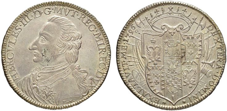 NumisBids: Nomisma Spa Auction 50, Lot 150 : MODENA Ercole III (1736-1780) Tallero 1796 – MIR 855/2 AG (g 27,99)...