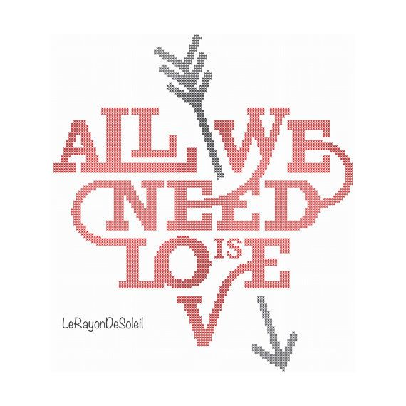 Modern cross stitch pattern heart shape text all you need is love arrow - PDF Instant download