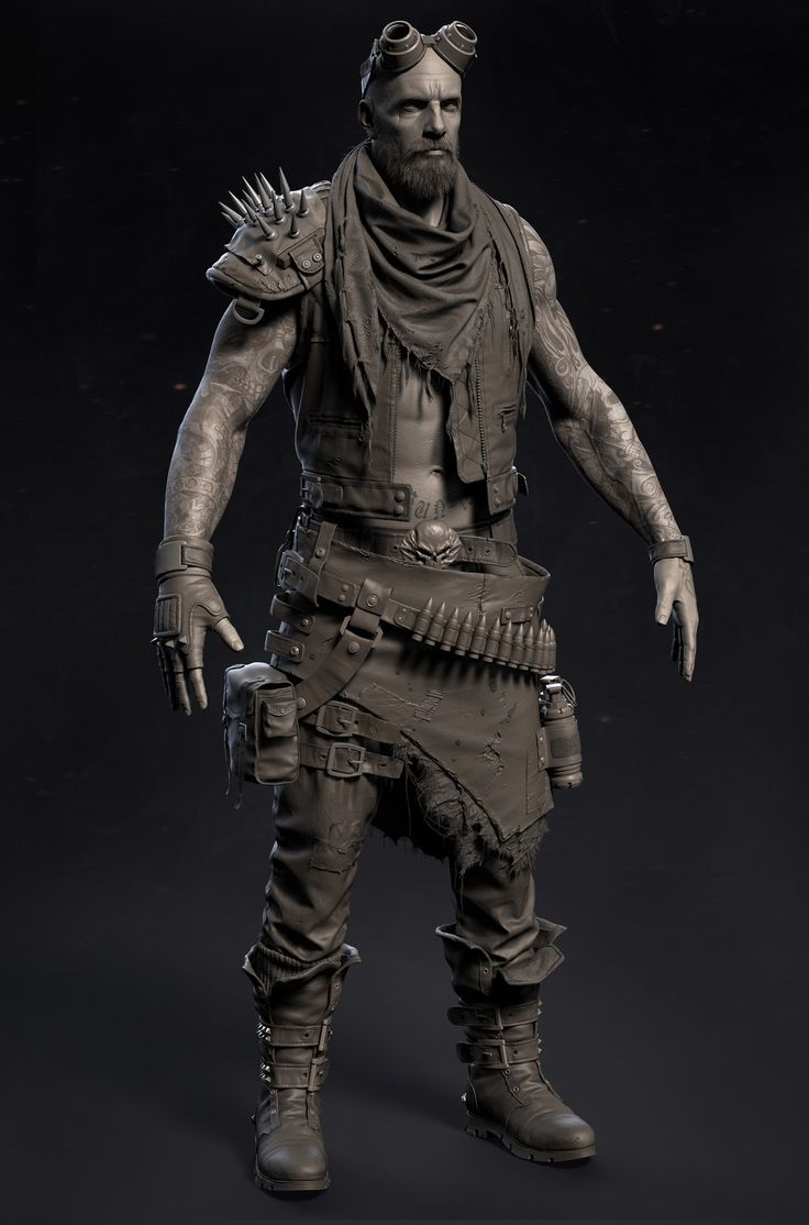 Character Design Zbrush : Wasteland warrior nukey hsieh on artstation at https