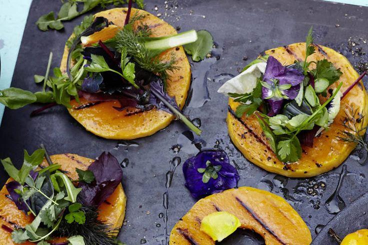 Das Rezept für Vegane gegrillte Kürbisringe mit allen nötigen Zutaten und der einfachsten Zubereitung - gesund kochen mit FIT FOR FUN