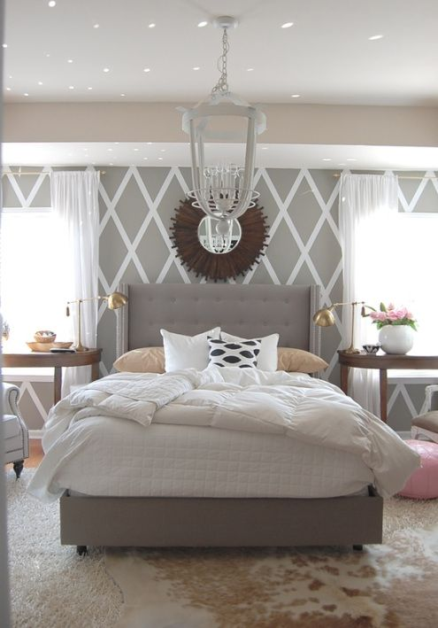 gray bedroom with duct taped wall! How cool is that. Love all of this.... Totally!!!
