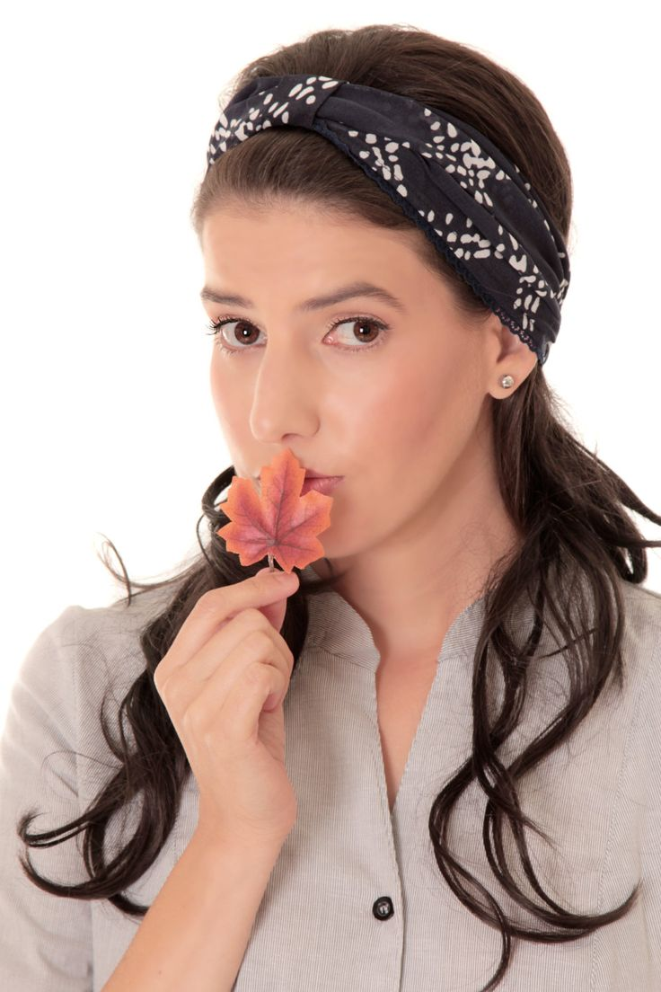 Winter sale - Blue headband - Bandanna headband - Headband with geometric print - Chiffon bandanna by TAMARLANDAU on Etsy