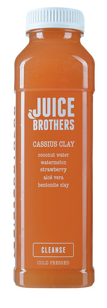 Cassius Clay - Cold pressed Juice.  Aloe vera, one of nature's most healing herbs, is known to accelerate skin repair and aid digestion. We combined it with the cleansing benefits of bentonite clay and the hydrating benefits of coconut water and watermelon.  =   coconut water, watermelon, strawberry, aloe vera, bentonite clay  +   detox, healing, hydration, digestion