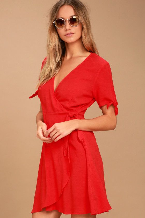 06180b18a2f3 Lulus | My Philosophy Red Wrap Dress | Size Large | 100% Polyester ...