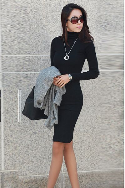 black long sleeve turtleneck dress « Bella Forte Glass Studio