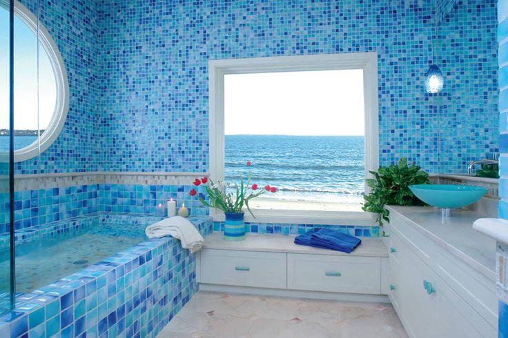 Дизайн ванной комнаты в морском стиле. #дизайн_ванной #голубая_ванная_комната #морской_дизайн__ванной_комнаты #современная_ванная_ комната #современный_дизайн