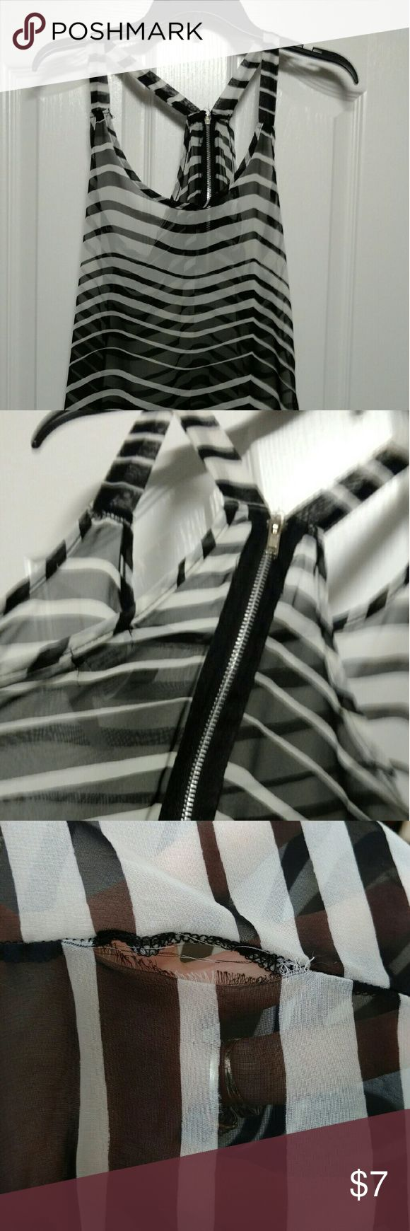 "Black and white striped top with exposed zipper Black and white striped top, exposed zipper,  arm pit to arm pit is 18 "",  arm pit to hem 18 There is a small separation of material, shown in the last 2 pictures. Lily White Tops"