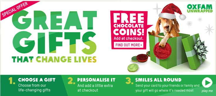Awesome gift exchange ideas!...    Oxfam Unwrapped is Oxfam's poverty-busting charity gift range & home to the Oxfam goat. Buy great gifts which will really transform lives.