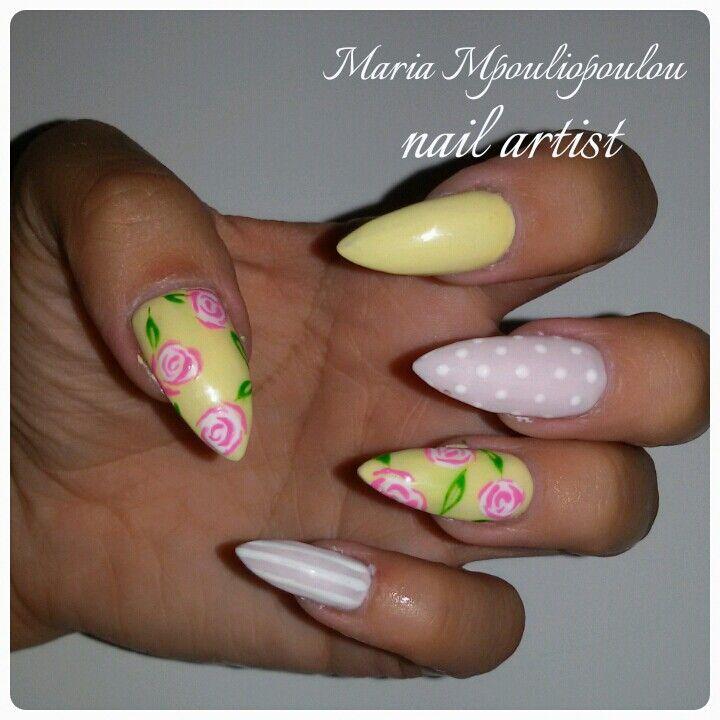 Pink yellow romantic nails