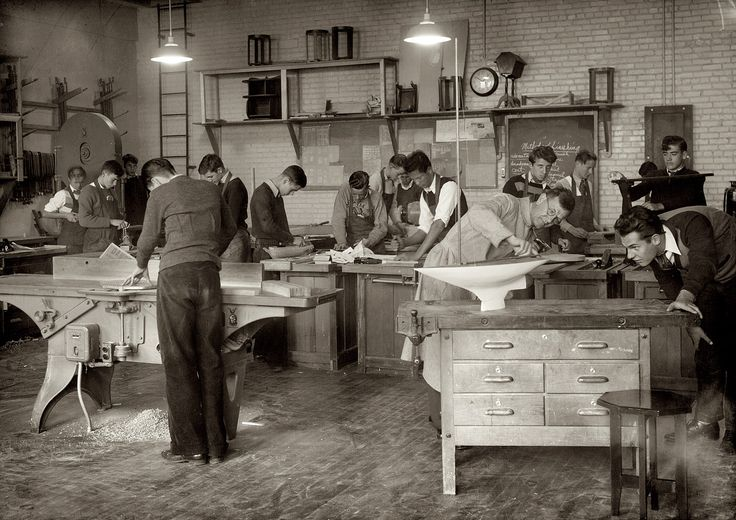 """BUY PRINT    1939. Anacostia High School, Washington, D.C. """"Carpentry shop."""" 5x7 nitrate negative, National Photo Company Collection. 