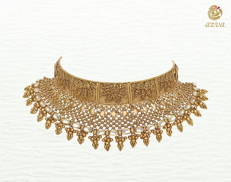 Azva gold choker of intricate wire work and foliage. Bridal gold jewellery inspired by the seven vows #Goldjewellery #luxury #style
