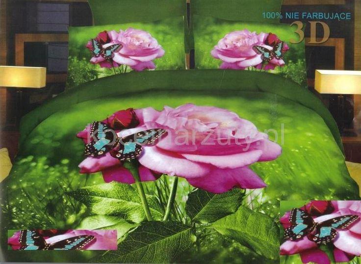 Zielona pościel do sypialni z różą i motylkiem