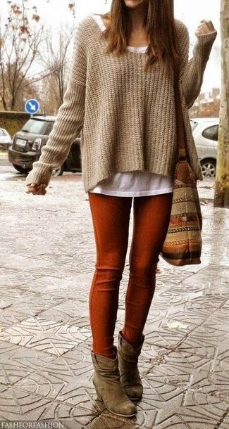 Women's White Crew-neck T-shirt, Tan Knit Oversized Sweater, Brown Canvas Tote Bag, Tobacco Leggings, and Brown Suede Ankle Boots