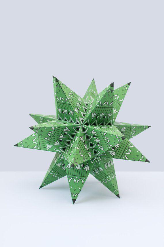 Big Papercraft Star Christmas Paper Star Ornament Christmas Tree Topper Star Origami Star Lamp 3d Paper Star Pdf Template Papershape Papiersterne Basteln Mit Papier Origami Bastelarbeiten Aus Papier Und Pappe