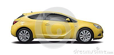 Yellow Opel Astra coupe isolated
