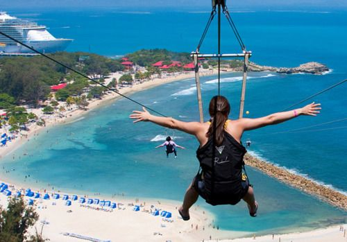 Labadee, Haiti  Highest and longest zipline in the world.  Yes I was scared...yes I wanted to do it again as soon as I touched the ground!