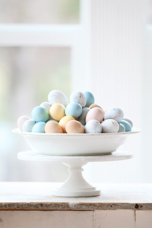 Bowl of naturally dyed eggs