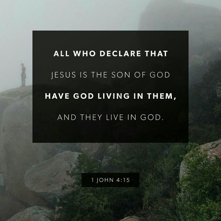Whosoever shall confess that Jesus is the Son of God, God dwelleth in him, and he in God. 1 John 4:15 KJV http://bible.com/1/1jn.4.15.KJV