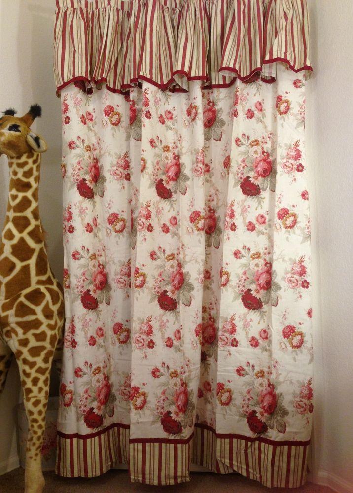 Nwot Waverly Norfolk Rose Garden 100% Cotton Shabby Chic Fabric Shower  Curtain