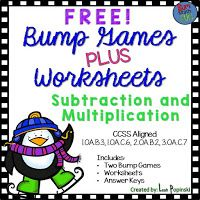 Free Bump Games with Accountability  Hi everyone! This is Leah from Sum Math Fun. Do you love centers? Do you need students to be more accountable for what they do at your centers? This freebie is for you! There are two bump games - one for subtraction and one for multiplication. Along with the games arepractice sheets that have a component for students to check their own work! They also have a space for students to write 3 of their own problems within a given parameter.Students will be…