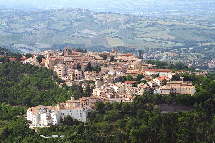 Hill town and view Cingoli Marche Italy
