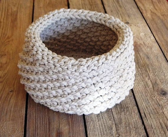 Hand Knitted Basket Cotton Rope Natural by ELITAI on Etsy,