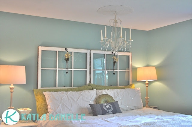 chandelier plus medallion; window pane headboard.