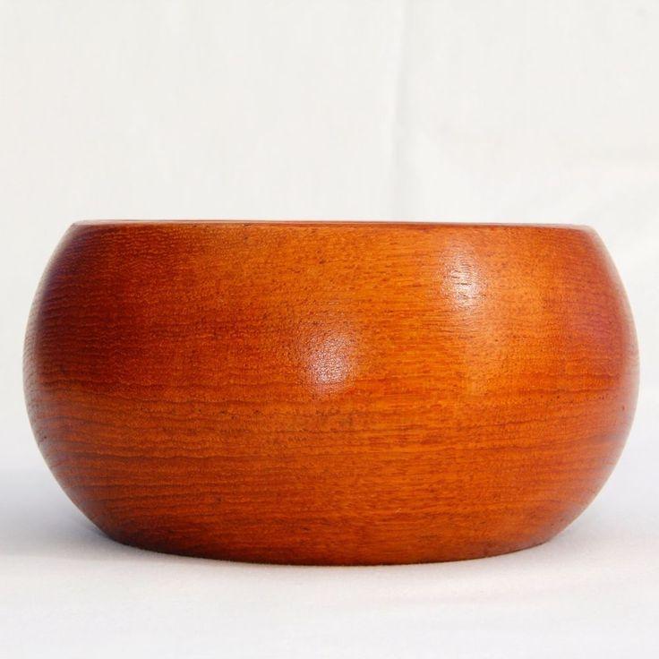 Teak Bowl Solid Wood Mid Century Modern Danish Style 5.75in Diam Excellent