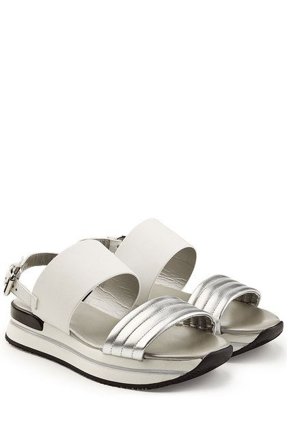 Platform Sandals with Metallic Leather | Hogan