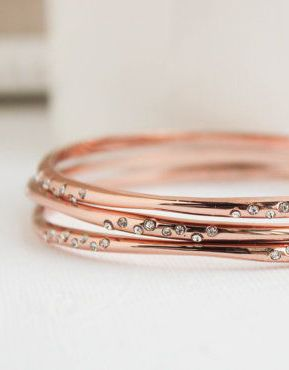 Handmade Rose Gold Dipped Bangles with Czech Stones