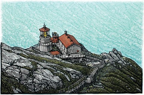 "Point Reyes Light , Color Linocut 18 x 12"" by Rik Olson"
